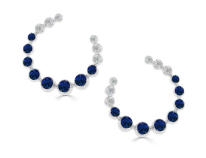 Casato sapphire and round brilliant cut diamond earrings in 18k white gold.