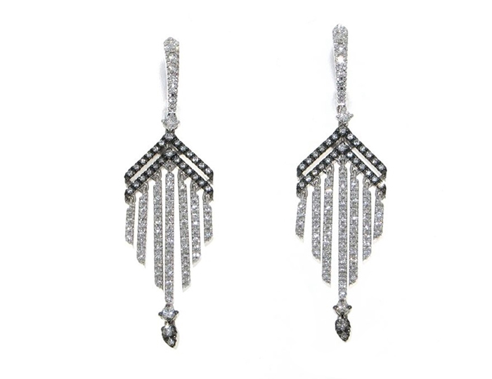 Casato Forget Me Not Collection round brilliant cut diamond earrrings in 18k white gold.