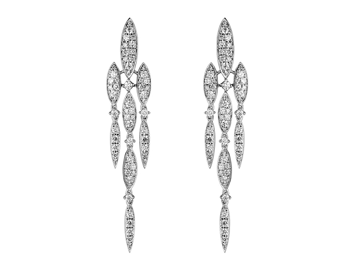 Casato Vie En Rose Collection round brilliant cut diamond earrings in 18k white gold.