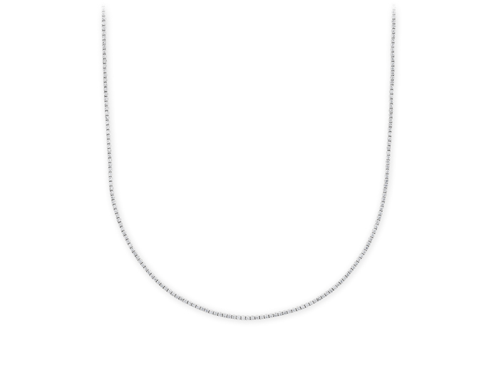 Round brilliant cut diamond tennis necklace in 18k white gold.