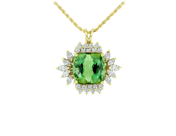 Green tourmaline and marquise and round brilliant cut diamond pendant in 18k yellow gold.