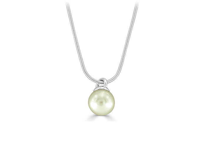 South sea pearl pendant in 18k white gold.