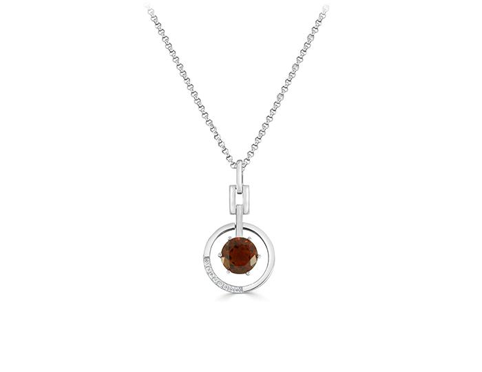 Citrine and round brilliant cut diamond pendant in 18k white gold.