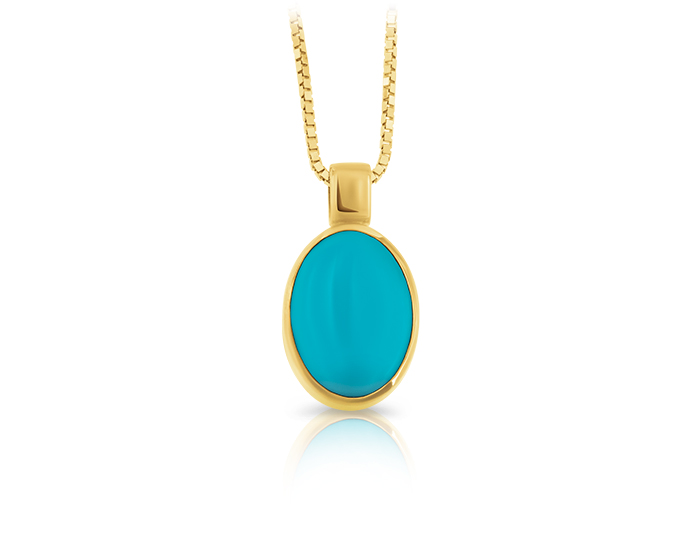 Turquoise pendant in 14k yellow gold.