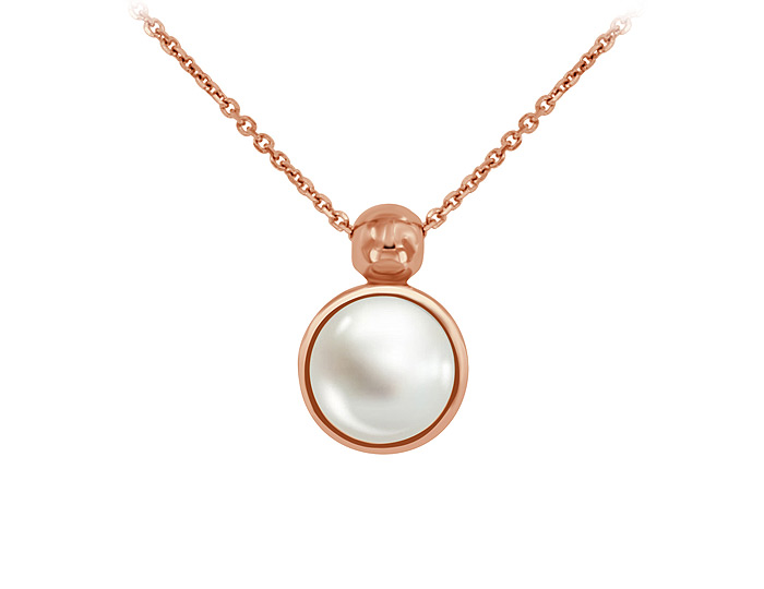 6.8mm cultured pearl necklace in 18k rose gold.