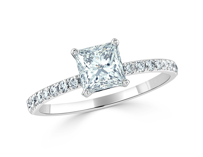 Princess cut and round brilliant cut diamond engagement ring in platinum.