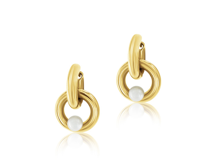 Mikimoto Classic Collection cultured pearl earrings in 18k yellow gold.