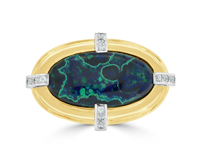 Round brilliant cut diamond and azurmalachite brooch in 18k yellow and white gold.