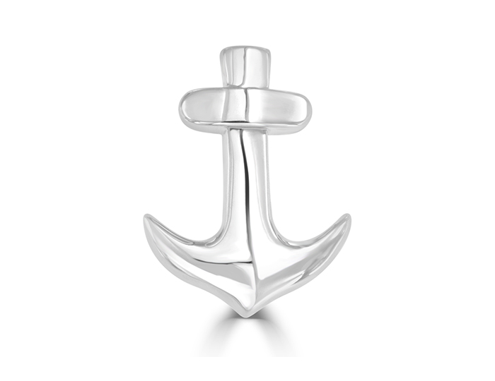 Anchor brooch in 18k white gold.