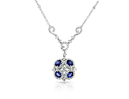 Sapphire and round brilliant cut diamond necklace in 18k white gold.