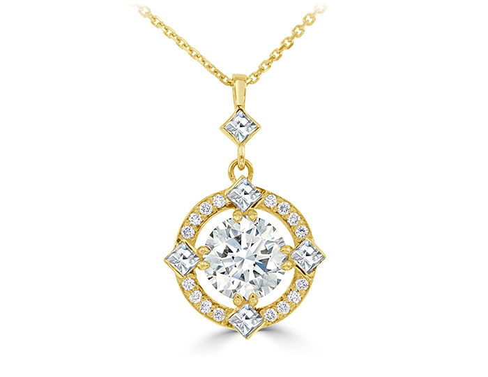 Bez Ambar round brilliant and blaze cut diamond pendant in 18k yellow gold.