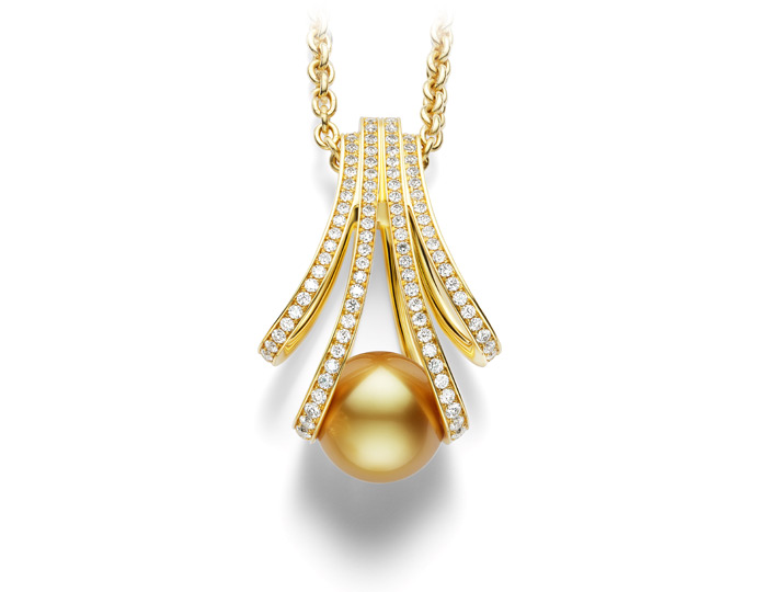 Mikimoto Golden South Sea Pearl and round brilliant cut diamond pendant in 18k yellow gold.