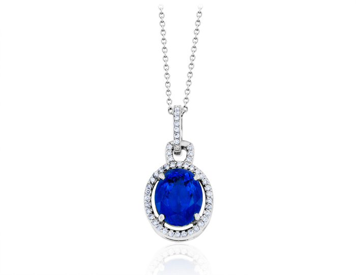 Tanzanite and round brilliant cut diamond pendant in 18k white gold