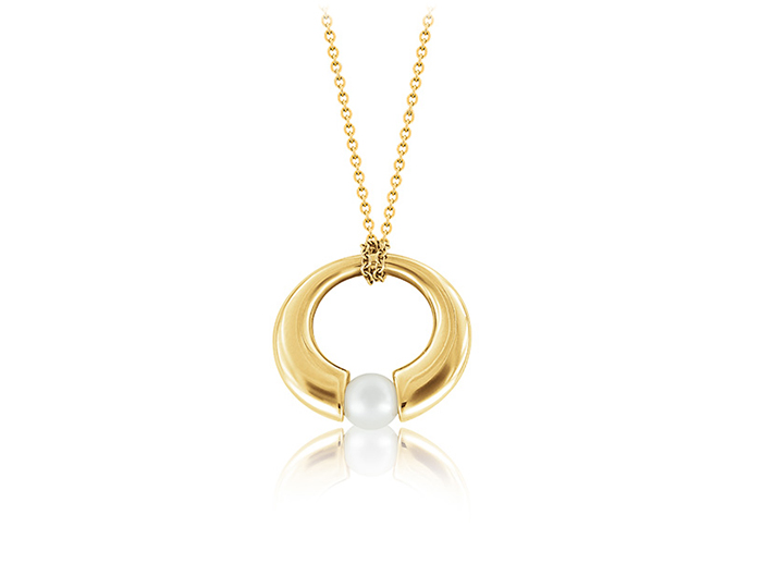 Mikimoto Classic Collection pearl necklace in 18k yellow gold.