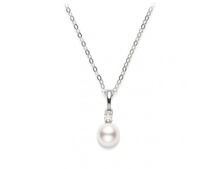 Mikimoto akoya pearl and round brilliant cut diamond pendant in 18k white gold.