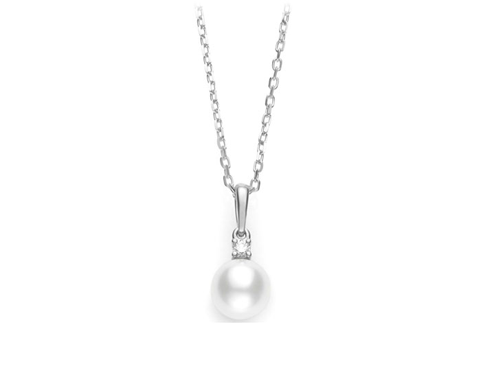 Mikimoto akoya pearl and diamond pendant in 18k white gold.