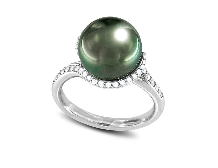 Mikimoto Twist Collection black Tahitian pearl and round brilliant cut diamond ring ni 18k white gold.
