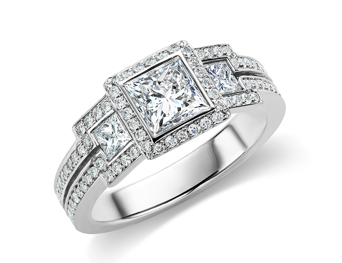 Bez Ambar princess cut and round brilliant cut diamond engagement ring in platinum.