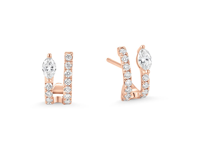 Sara Weinstock Purity collection marquise and round brilliant cut diamond earrings in 18k rose gold.