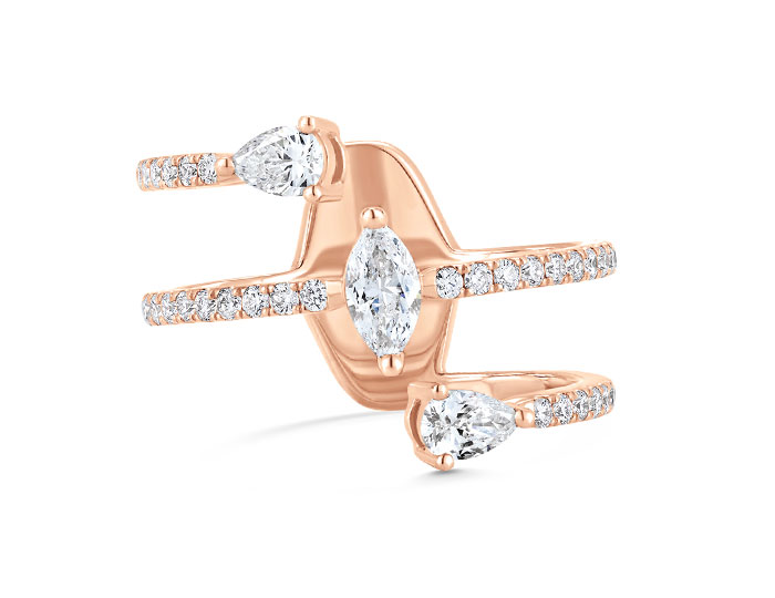 Sara Weinstock Purity collection marquise, pear shape and round brilliant cut diamond ring in 18k rose gold.