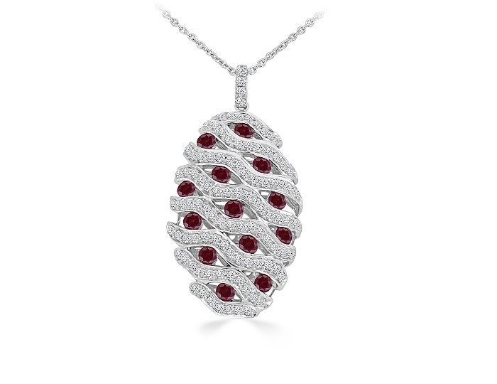 Round ruby and round brilliant cut diamond pendant in 18k white gold.