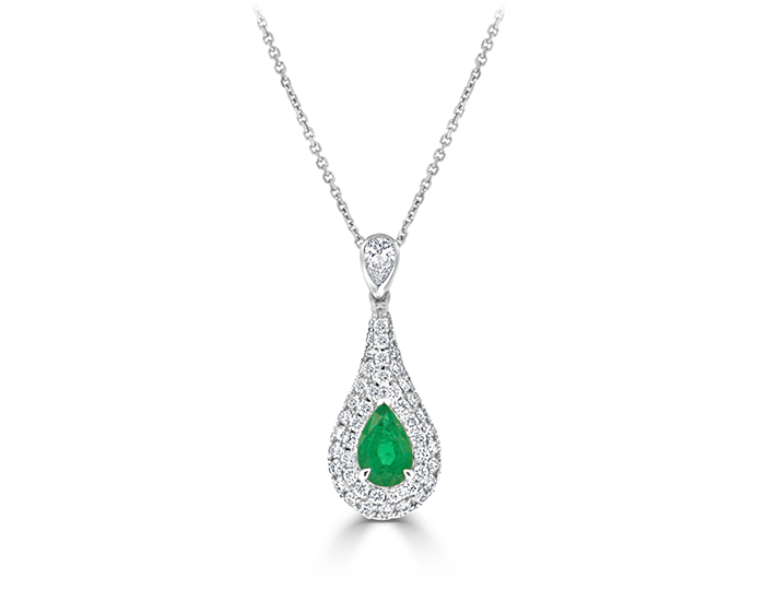 Emerald stone with pear shape and round brilliant cut diamond pendant in 18k white gold.