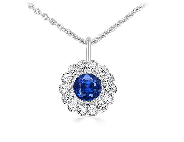 Round sapphire and round brilliant cut diamond pendant in 18k white gold.
