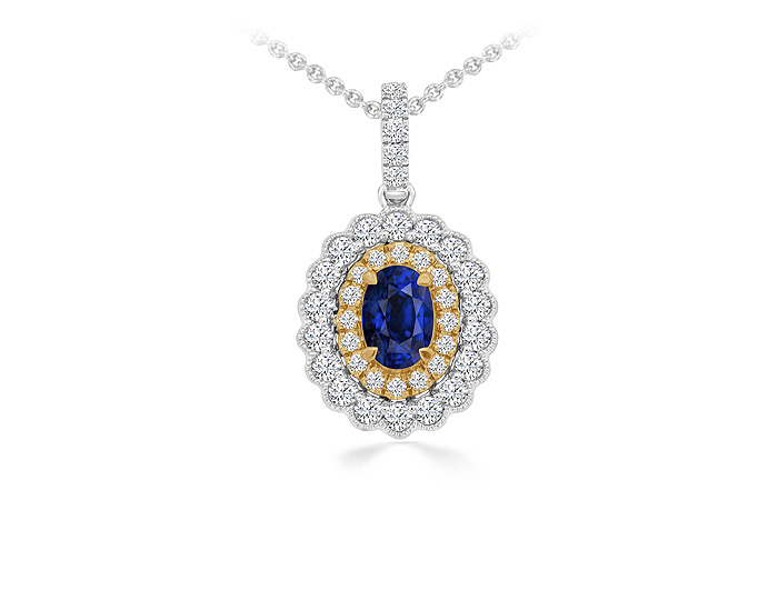 Oval sapphire and round brilliant cut diamond pendant in 18k white and yellow gold.