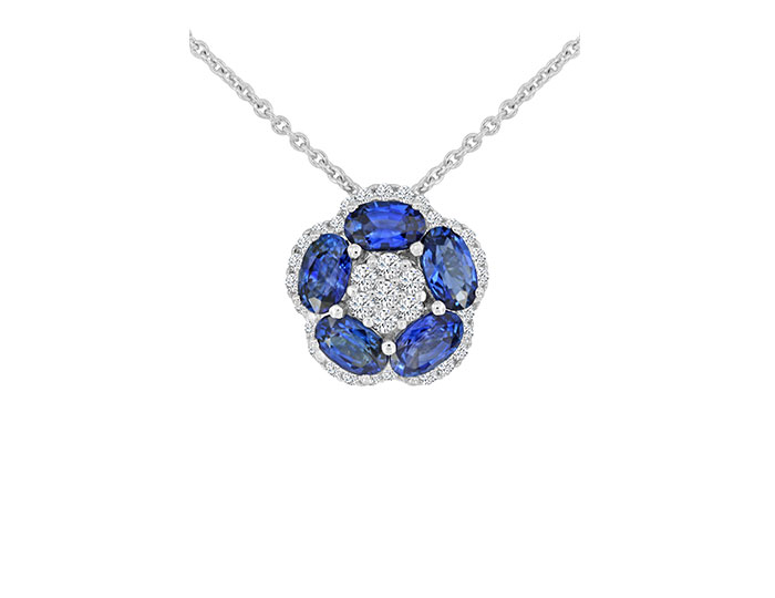 Oval sapphire and round brilliant cut diamond pendant in 18k white gold.