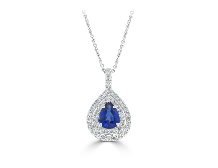 Pear shape sapphire and round brilliant cut diamond pendant in 18k white gold.