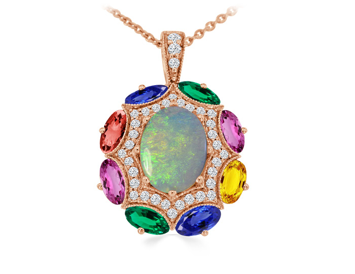 Opal, oval shape fancy sapphire and round brilliant cut diamond pendant in 18k rose gold.