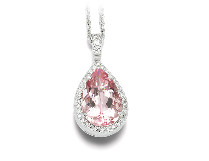 Pear shape morganite and round brilliant cut diamond pendant in 18k white gold.