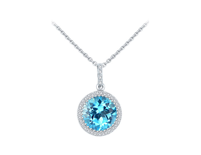 Blue topaz and round brilliant cut diamond pendant in 18k white gold.