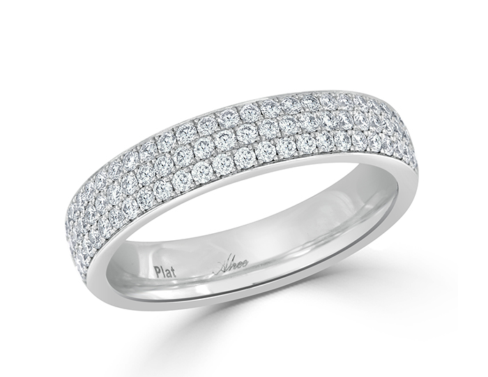 Round brilliant cut diamond pave band in platinum.