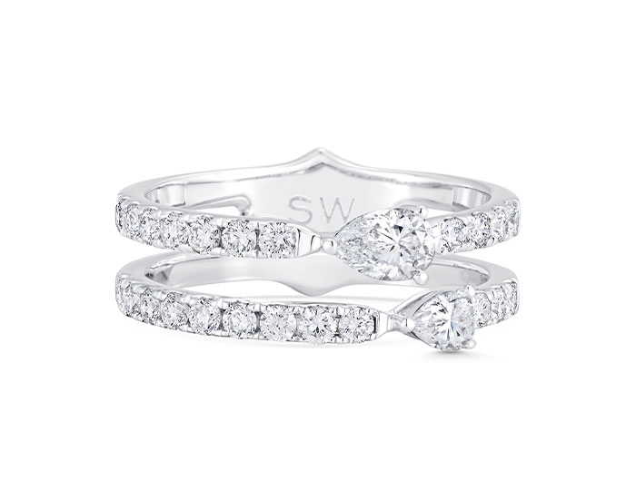 Sara Weinstock Purity Collection round brilliant cut and pear shape diamond ring in 18k white gold.