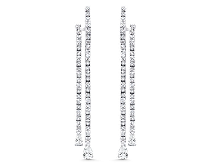 Sara Weinstock Purity Collection pear shape and round brilliant cut diamond earrings in 18k white gold.