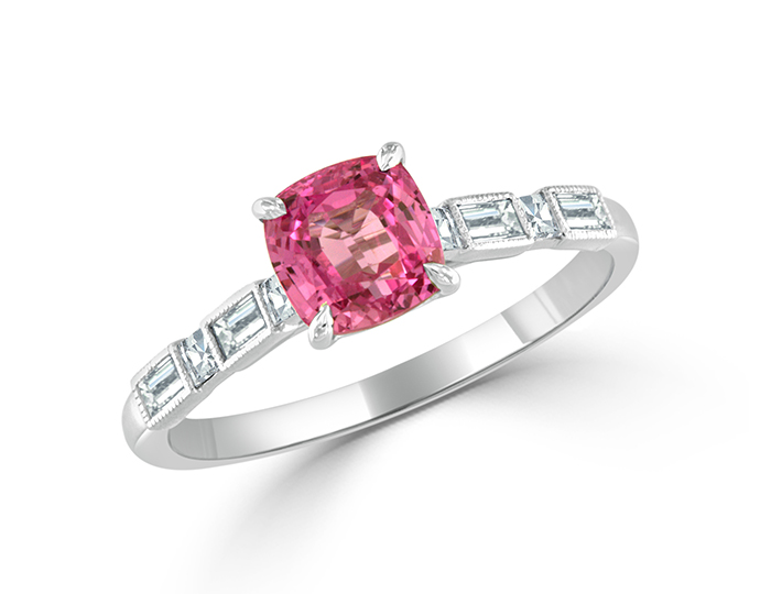 Bez Ambar pink sapphire with baguette and blaze cut diamonds in 18k white gold.