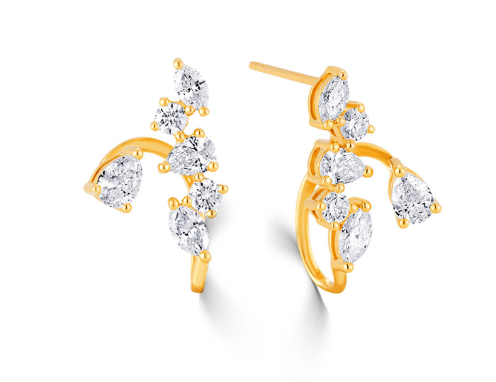Sara Weinstock Purity collection, marquise cut, pear shape and round brilliant cut diamond earrings in 18k yellow gold.