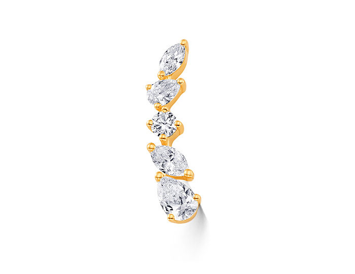 Sara Weinstock Purity collection pear shape, marquise cut and round brilliant cut diamond ear crawler in 18k yellow gold. (right ear)