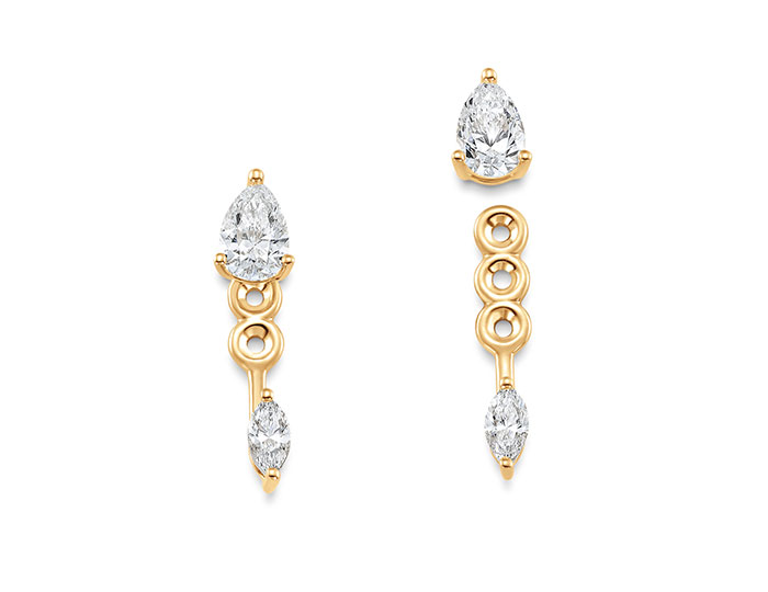 Sara Weinstock Purity collection pear shape and marquise cut diamond earrings and jackets in 18k yellow gold.