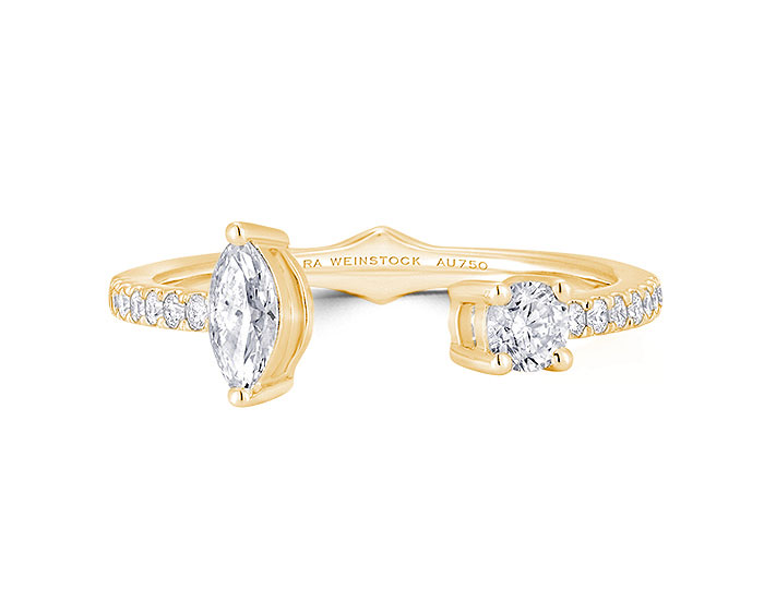 Sara Weinstock Purity collection pear shape and round brilliant cut diamond ring in 18k yellow gold.