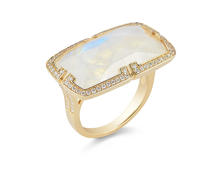 Ivanka Trump Patras Collection rainbow moonstone and round brilliant cut diamond ring in 18k yellow gold.