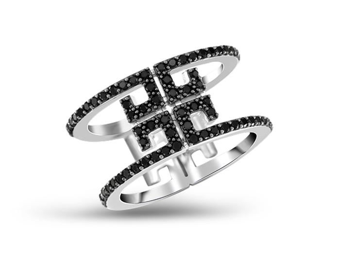 Ivanka Trump Signature Collection black diamond ring in 18k white gold.
