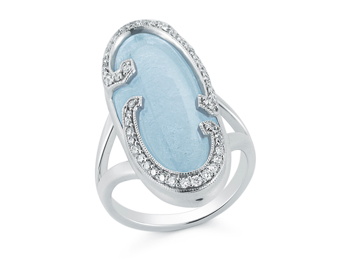 Athénée Collection aquamarine and diamond cocktail ring in 18k white gold.
