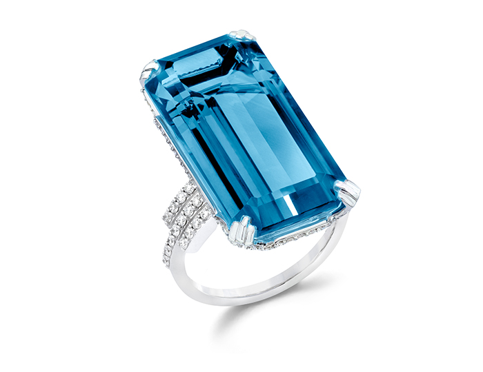 Ivanka Trump Empire Collection blue topaz and round brilliant cut diamond ring in 18k white gold.