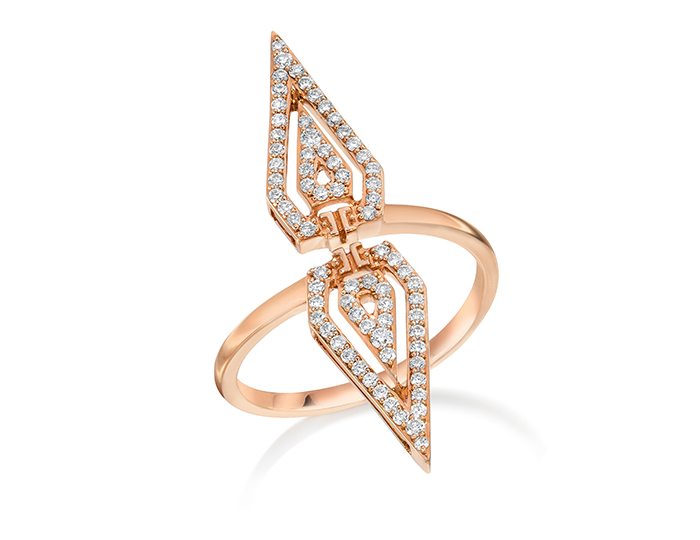 Ivanka Trump Montmartre Collection round brilliant cut diamond ring in 18k rose gold.