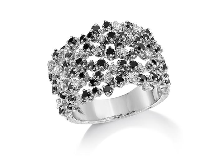 Ivanka Trump Tassel Moderne Collection black and white round brilliant cut diamond ring in 18k white gold.