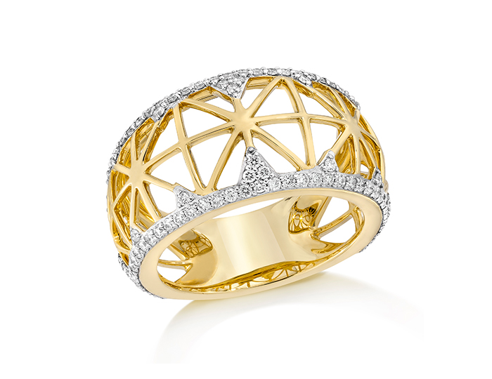 Ivanka Trump Liberté Collection round brilliant cut diamond ring in 18k yellow gold.