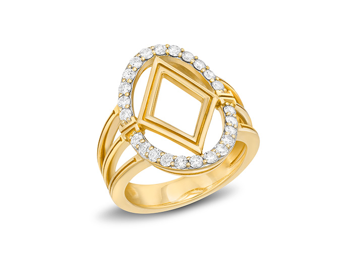 Ivanka Trump Affinity Collection round brilliant cut diamond ring in 18k yellow gold.