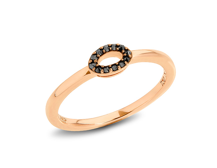 Ivanka Trump Affinity Collection black diamond ring in 18k rose gold.